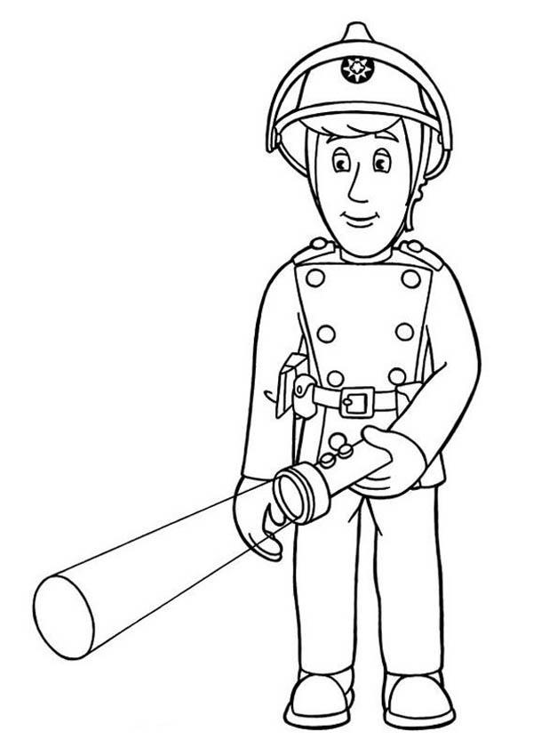 fireman sam using flash light coloring page