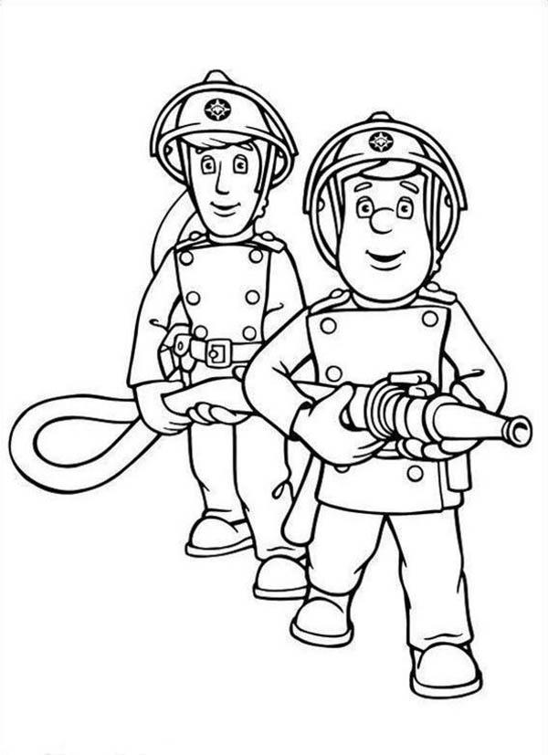 Fireman sam and elvis cridlington together hold the hose for Elvis coloring pages