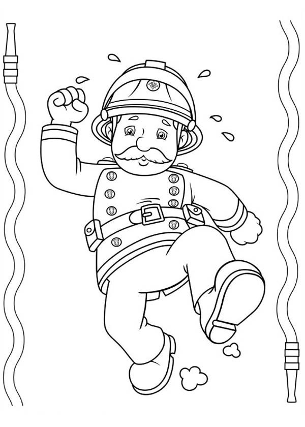 Fireman Sam is Tired After Extinguishing Fire Coloring Page ...