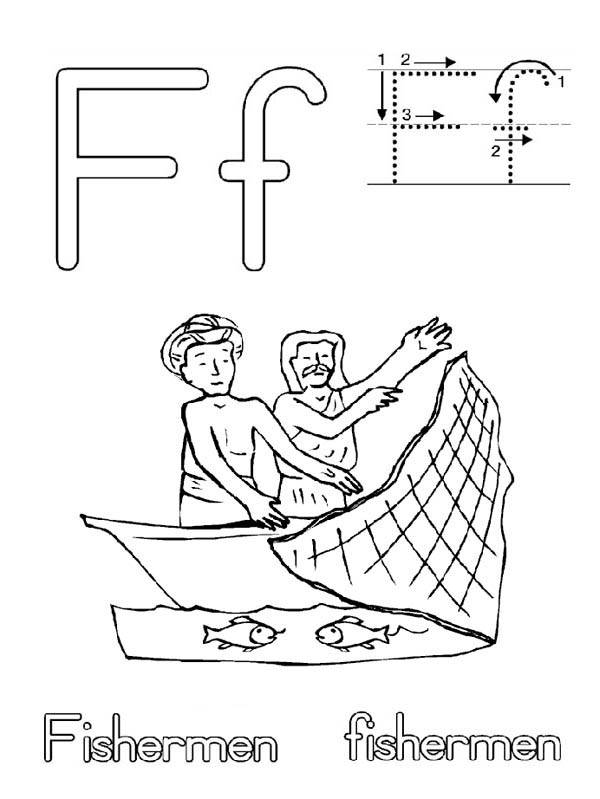 Fisherman Fish Net Coloring Page Coloring Sky