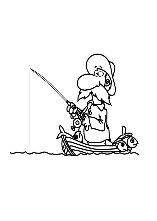 Fisherman Coloring Pages Fishing Boat Page Sky