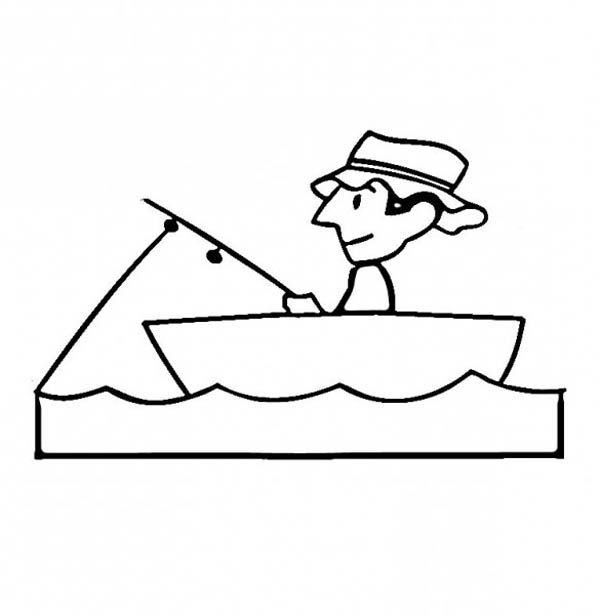 Fisherman Patience Waiting for Fish Coloring Page | Coloring Sky