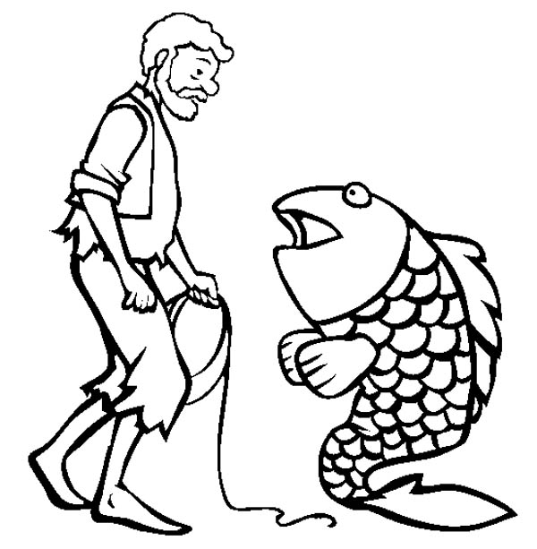 Fisherman Talking To A Fish Coloring Page
