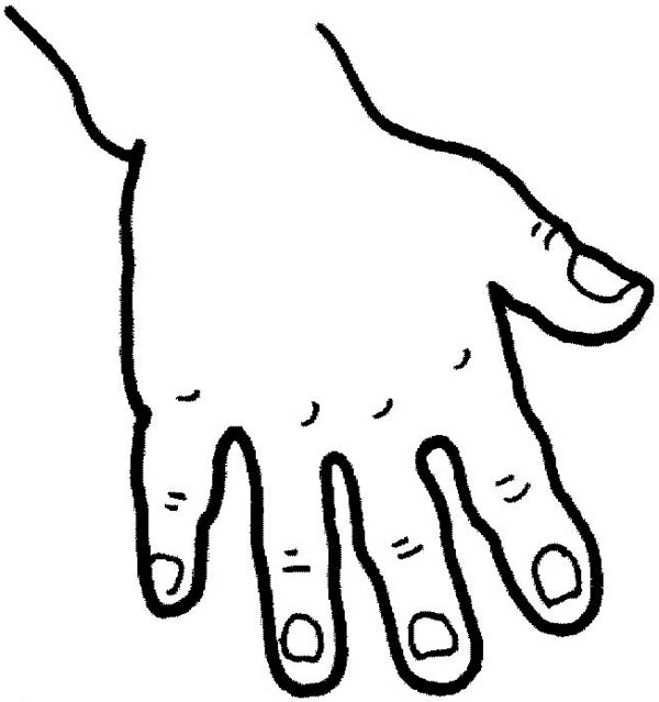 five fingered hand coloring page - Hand Coloring Page