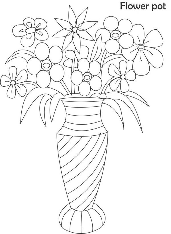 coloring page vase with flowers flower vase coloring page for kids sky - Coloring Pages Roses A Vase