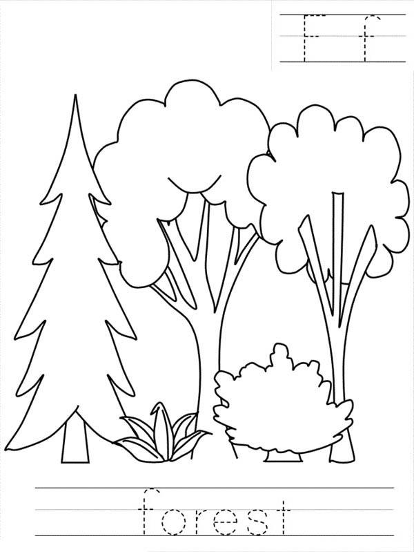 forest worksheet coloring page coloring sky. Black Bedroom Furniture Sets. Home Design Ideas