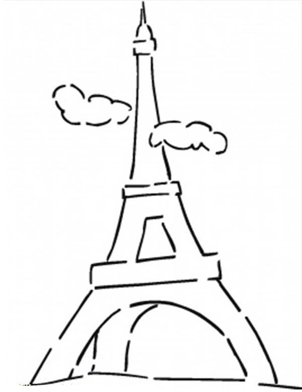 French Famous Eiffel Tower Coloring Page Coloring Sky