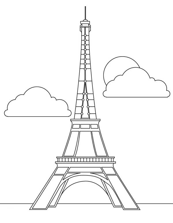 French Icon Eiffel Tower Coloring Page | Coloring Sky