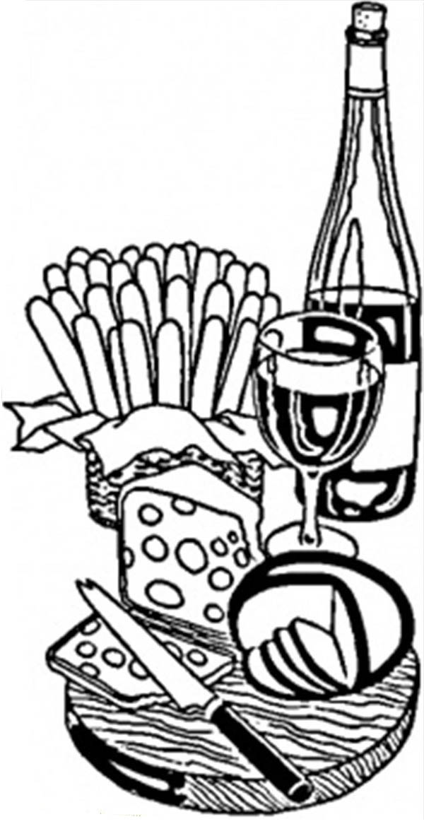 French Wine and Cheese Coloring Page | Coloring Sky