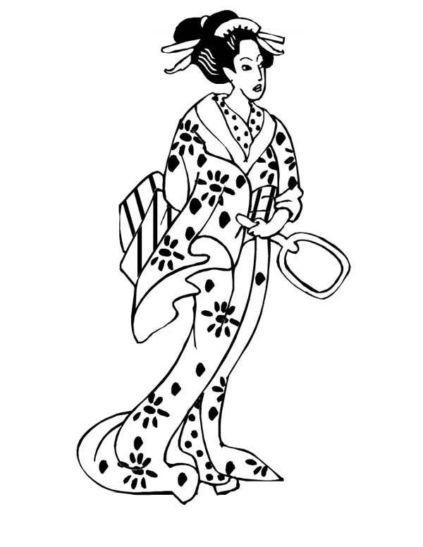 geisha princess of japan coloring page