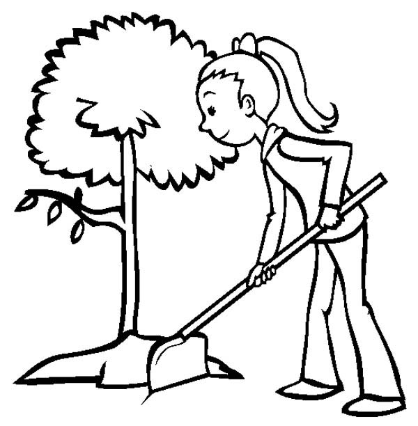 Girl growing plants at backyard coloring page coloring sky for Planting seeds coloring pages