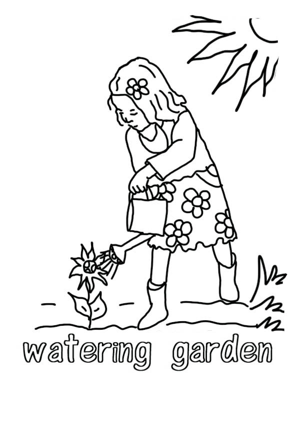 growing plants watering can coloring page - Can Coloring Page