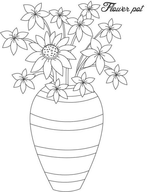 Hand Made Flower Vase Coloring Page Coloring Sky