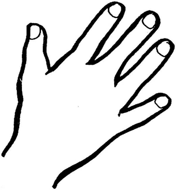 hand outline finger coloring page