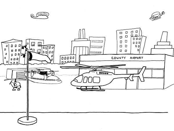 Helicopter At Airport Coloring Page
