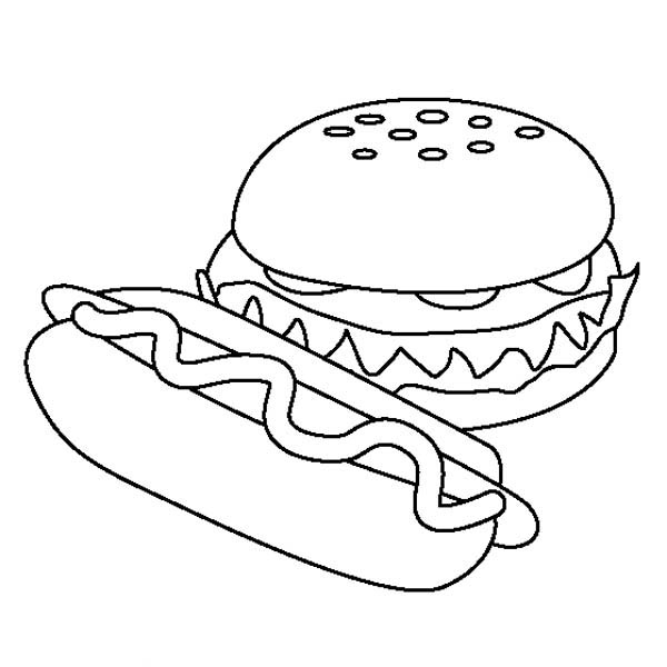hot dog and hamburger coloring page
