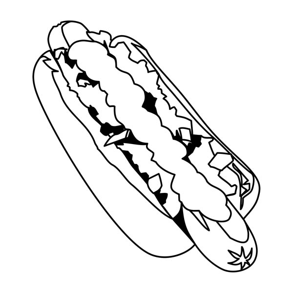 hot dog how to draw hot dog coloring page
