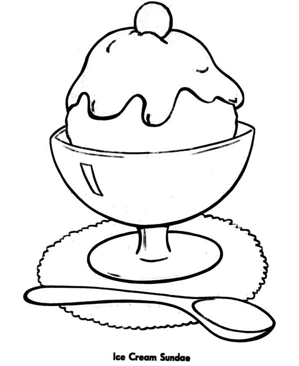 Ice cream sundae coloring page coloring sky for Ice cream sundae coloring page