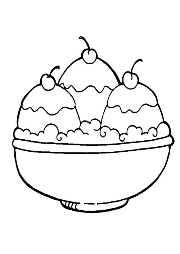 Ice Cream in a Bowl Coloring Page | Coloring Sky