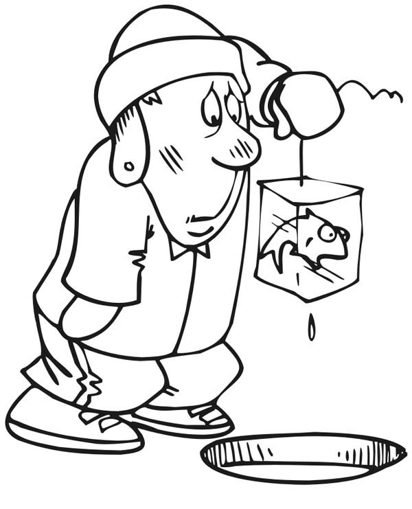 ice fishing fisherman coloring page