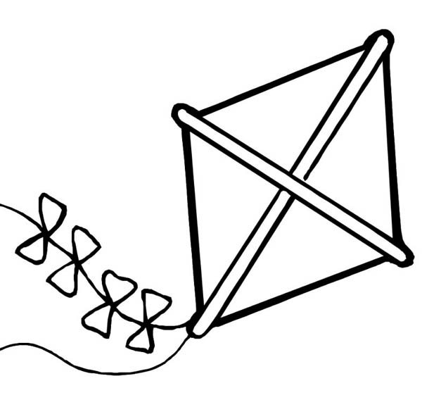 In Summer We Play Kite At Kindergarten Coloring Page Sky