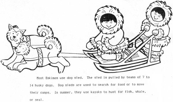 Inuit And Their Husky Dogs Coloring Page