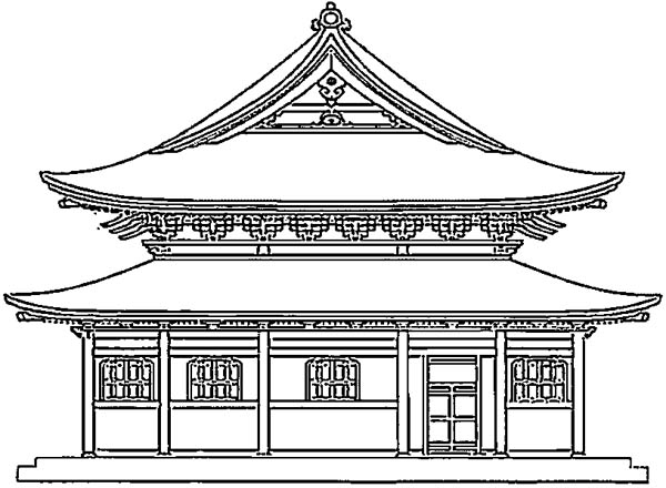 Japan Temple Coloring Page