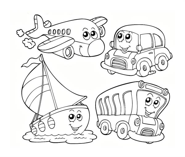 transportation coloring sheets printable printable coloring land transportation coloring pages kindergarten - Coloring Page For Kindergarten