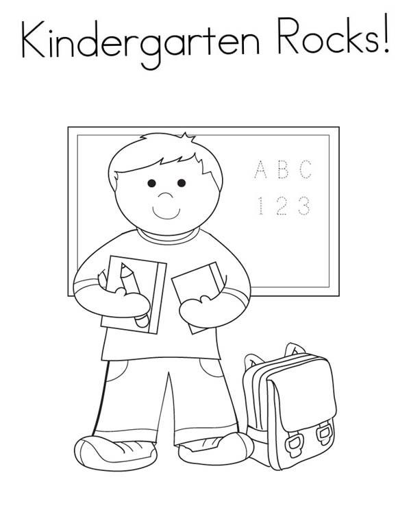 Kindergarten Rocks Coloring Page | Coloring Sky