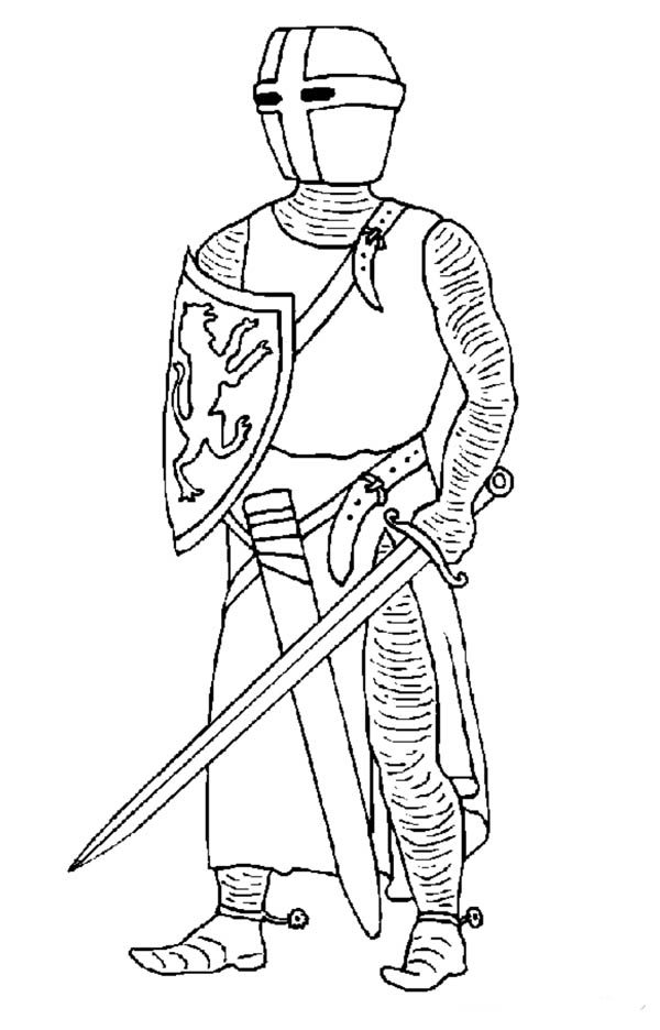 Knight Ready With His Sword Coloring Page
