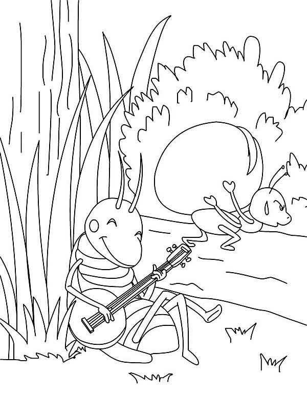 Lazy Playing Guitar While Other Working Hard Coloring Page