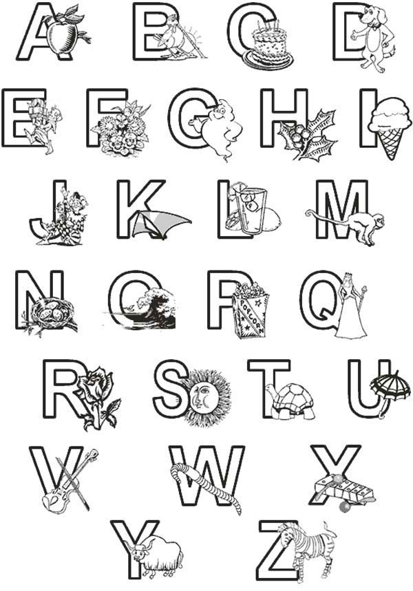 Learning abc for preschool kids coloring page