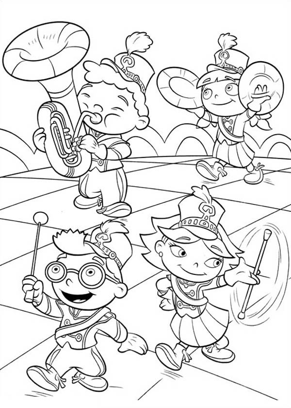 Little einstein marching band coloring page coloring sky for Band coloring pages