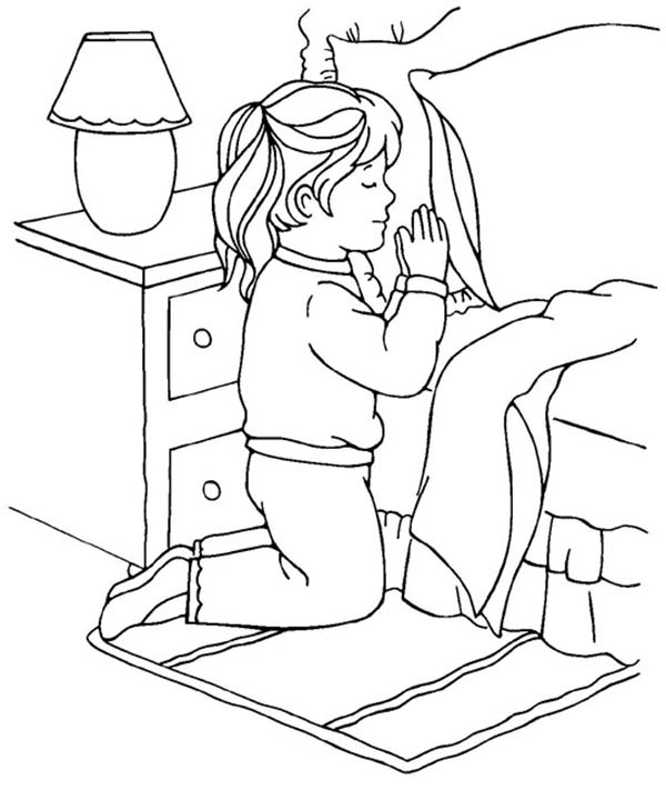 Little girl devoted doing lords prayer coloring page for Praying boy coloring page