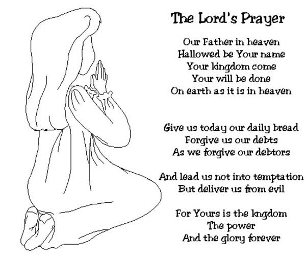 Little Girl Doing Lords Prayer Before Sleep Coloring Page