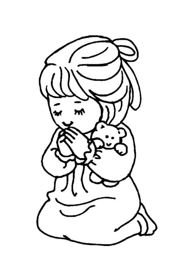 children praying coloring page - little girl and teddy bear doing lords prayer coloring