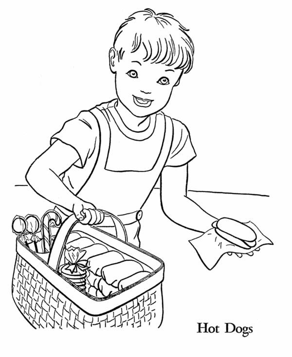 Little Serving Hot Dog Coloring Page   Coloring Sky