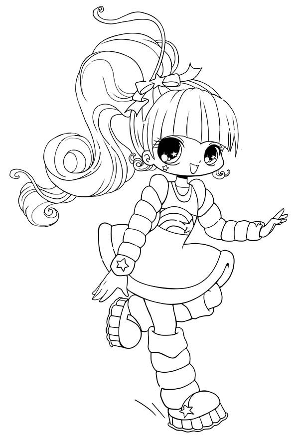 long haired chibi anime character coloring page - Coloring Pages Anime Couples Chibi
