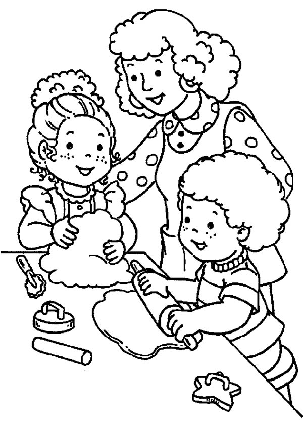 Making Cookie With My Family Coloring Page Coloring Sky