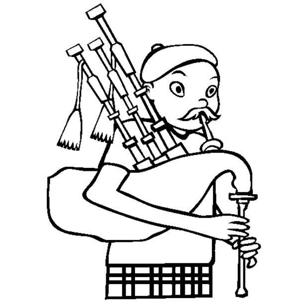 Man with Mustache Playing Bagpipes Coloring Page | Coloring Sky