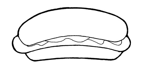 people food hot dog coloring page