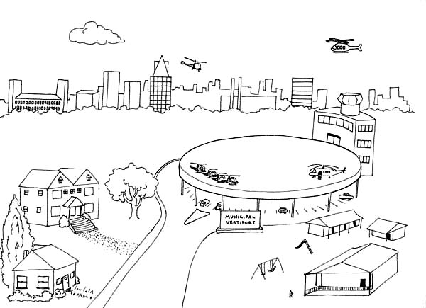 Airports Free Colouring Pages