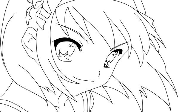 Picture main character of harhi suzumiya anime coloring for Anime character coloring pages