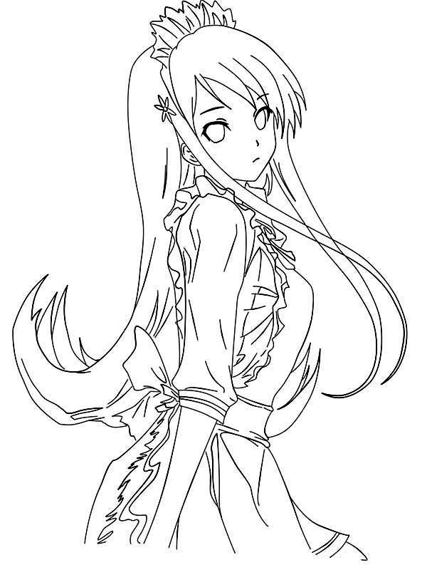 anime picture of princess anime coloring page