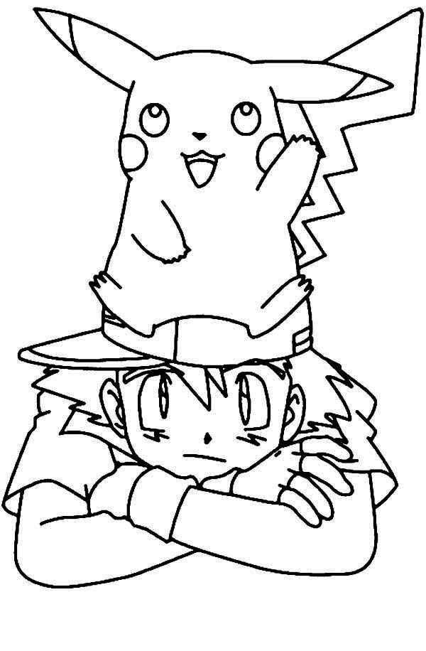 Pikachu standing on ash ketchum head on pokemon coloring page