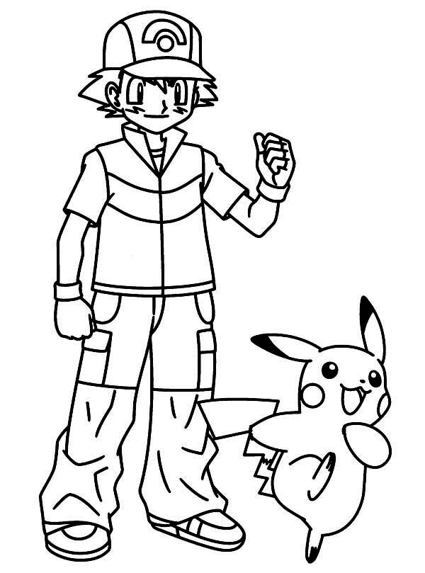 Pikachu take ash ketchum for great journey on pokemon for Ash and pikachu coloring pages