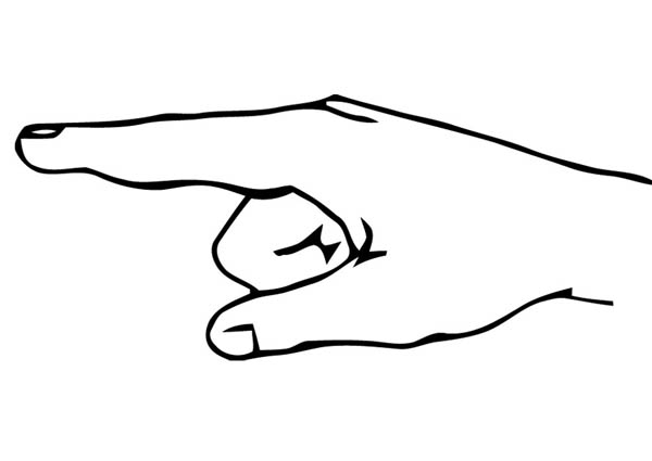 Pointing Finger Hand Coloring Page Sky