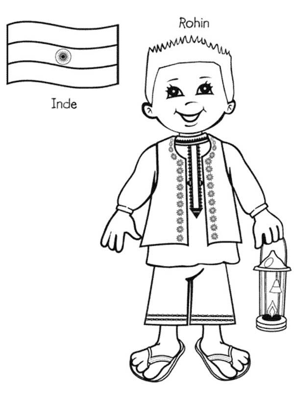 Rohin indian kid from around the world coloring page