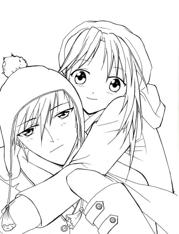 Romantic Couple Anime Coloring Page Coloring Sky