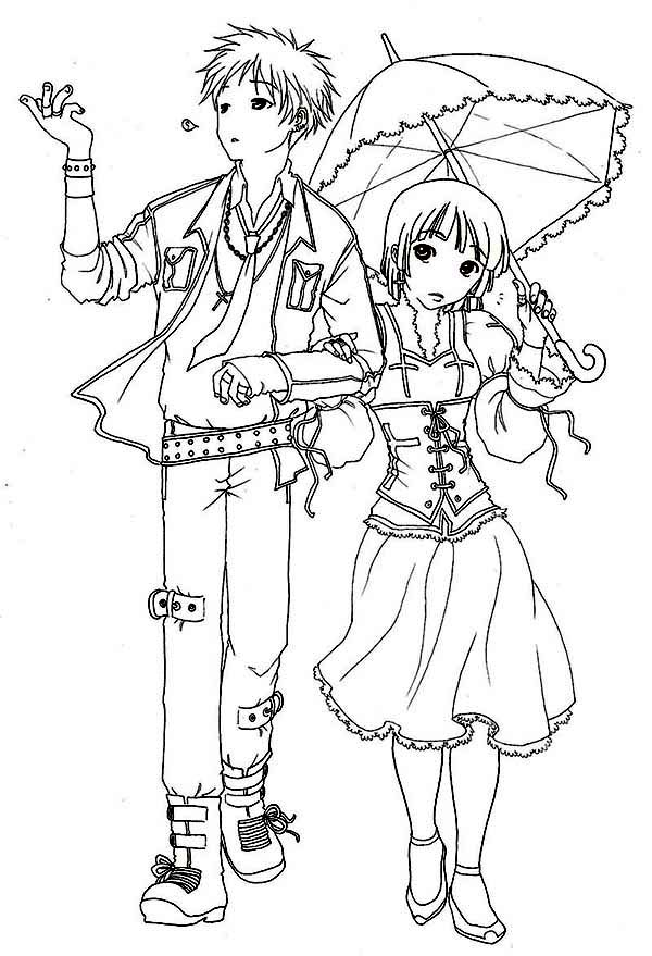 romantic japan anime coloring page